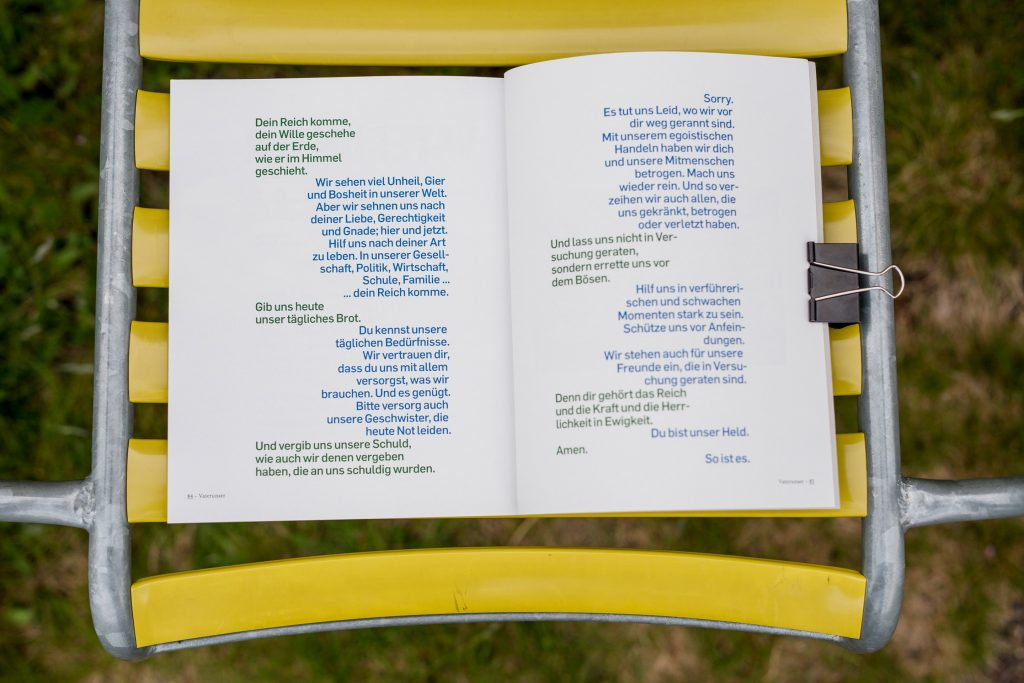 The Last pages show a the Lord's prayer along side of a personal version from the author.