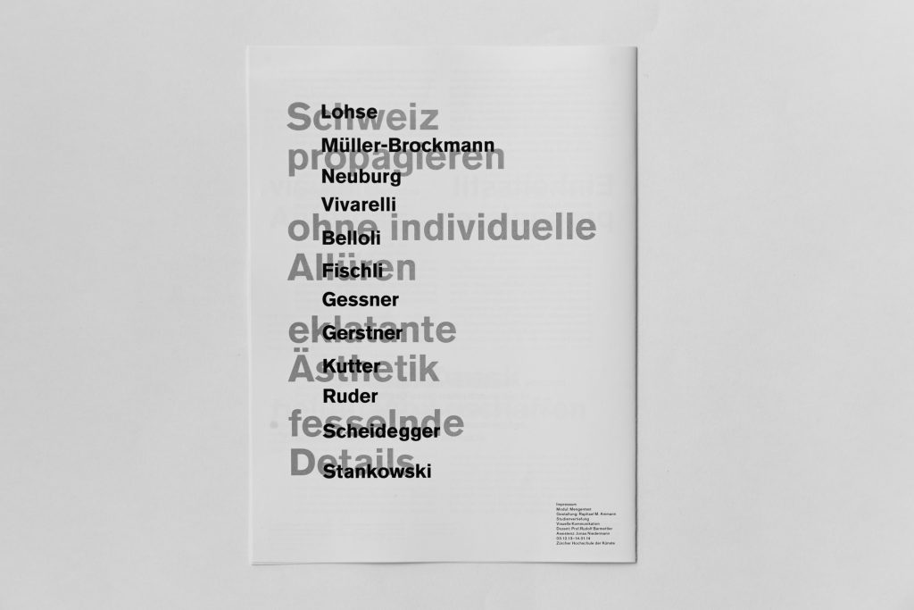 Swiss Style Booklet Backcover